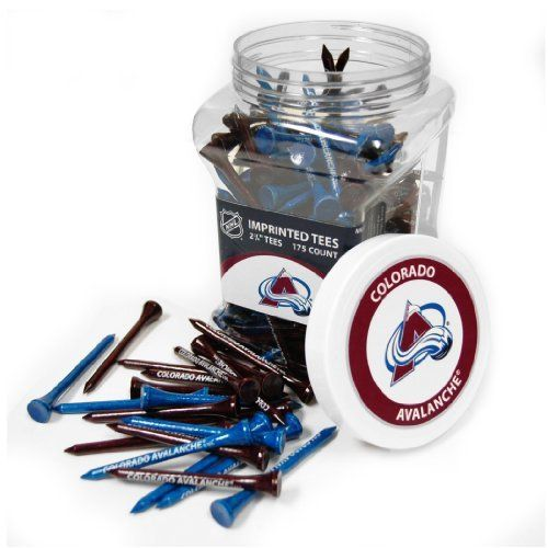 """NHL Colorado Avalanche 175 Tee Jar by Team Golf. $24.99. Two tee colors per school. Tees are imprinted with school name. School labels on the front and top of jar. Tees are 2-3/4"""" in length. Officially licensed product. Jar includes 175 multi-colored 2-3/4"""" regulation tees with team imprint. Includes screw on lid, with team labels on the front and top. A great way to tee up your next ball."""