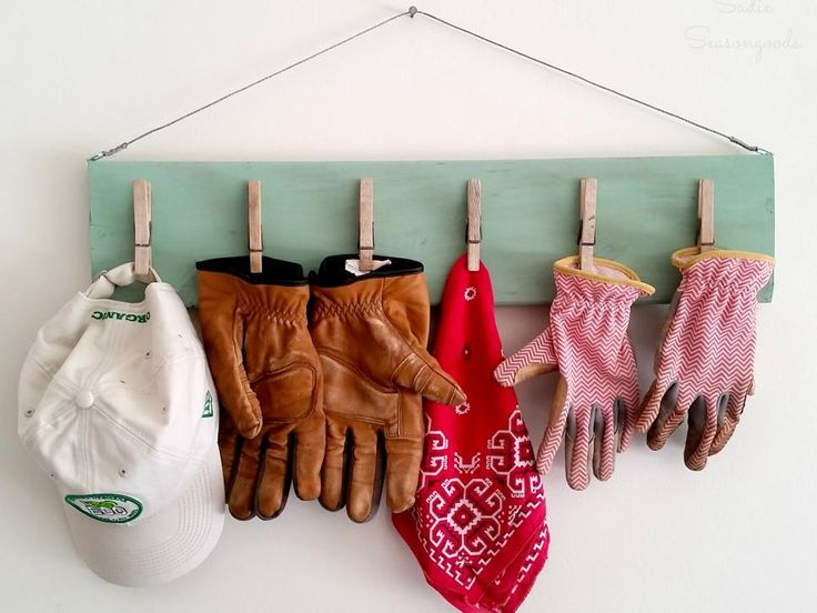 Garden Gear Hanger   Use clothespins and scrap wood to create a spot on the wall for gardening gear