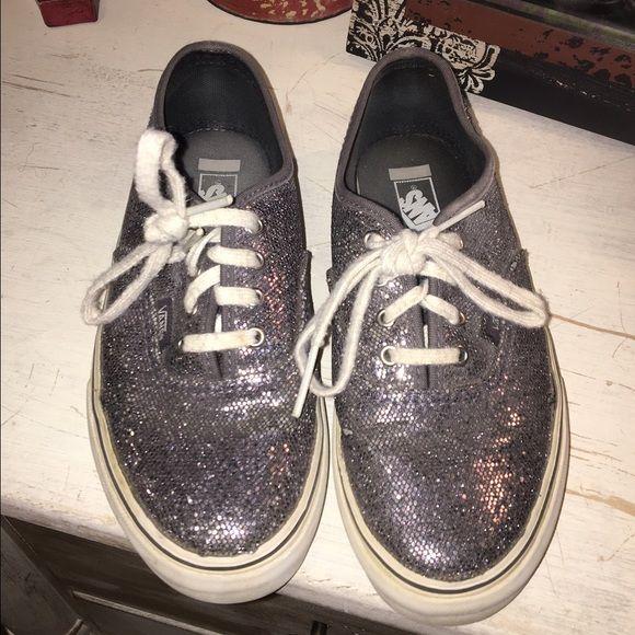 Vans tennis shoes Black sparkle/glitter Vans. Pre-loved.                                  Kids size 2. Vans Shoes Sneakers