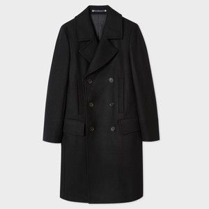 PS Paul Smith Men's Black Wool-Cashmere Double Breasted Overcoat