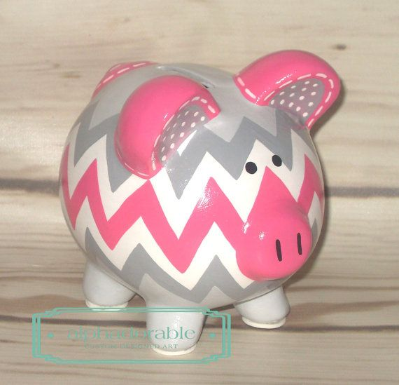 SMALL hot pink and grey chevron artisan hand painted piggy bank by Alphadorable, $45.00