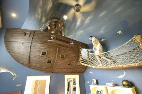 Pirate ship room for a happy young pirate. How would your children like this room? Click through for more information and pictures.