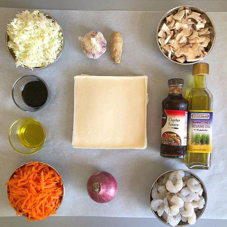 fatmee kitchen On Instagram Shrimps Spring Rolls شهيتني عليهن Chefleylafathallah Chefleylafatha Arabic Food Shrimp Spring Rolls Recipes