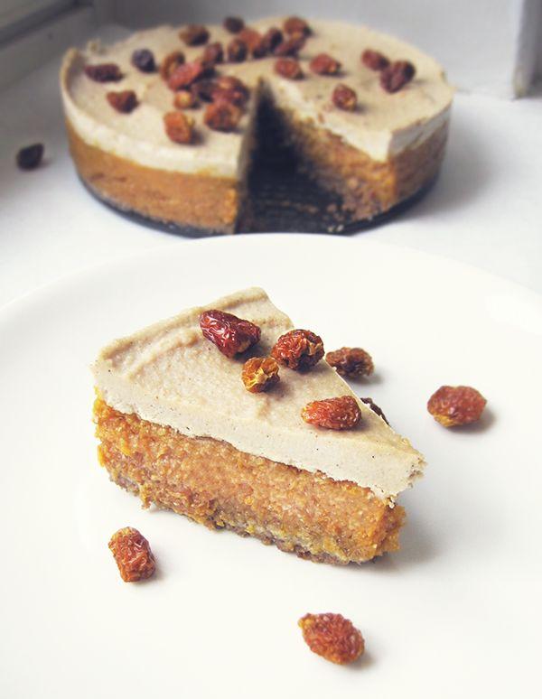 Inca berry, orange & white chocolate raw cake