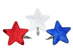 Small Snap Sequin Stars - Patriot (3 Pack). Star spangled banner with sequins.  Glittery cuteness with these #hairclips!