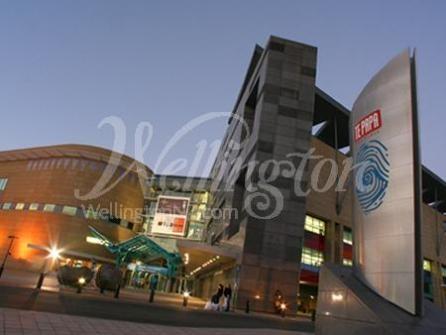 Museum of New Zealand Te Papa Tongarewa at night in Wellington.