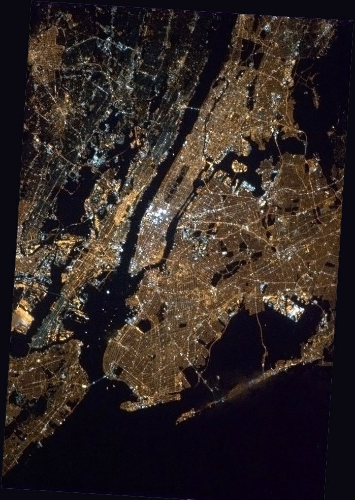 NYC from the International Space Station by Canadian Commander, Col. Chris Hadfield, 2013.