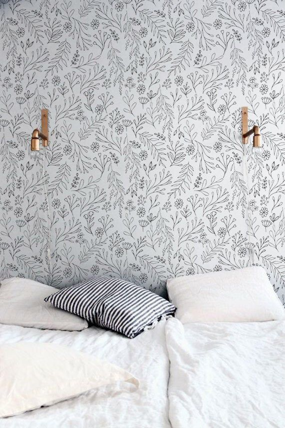 Removable Wallpaper With Grey Floral Pattern Peel And Stick Etsy Nursery Wallpaper Removable Wallpaper Grey Floral Wallpaper
