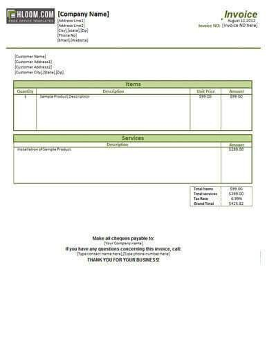 25 free service invoice templates billing in word and excel Hloom.com #SampleResume #InvoiceFormat