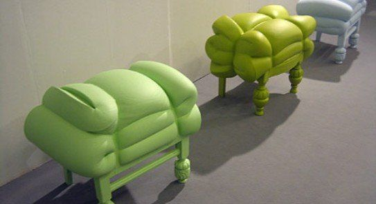 A mattress and chair covered in foam and then painted. I would love to try a version of this idea.