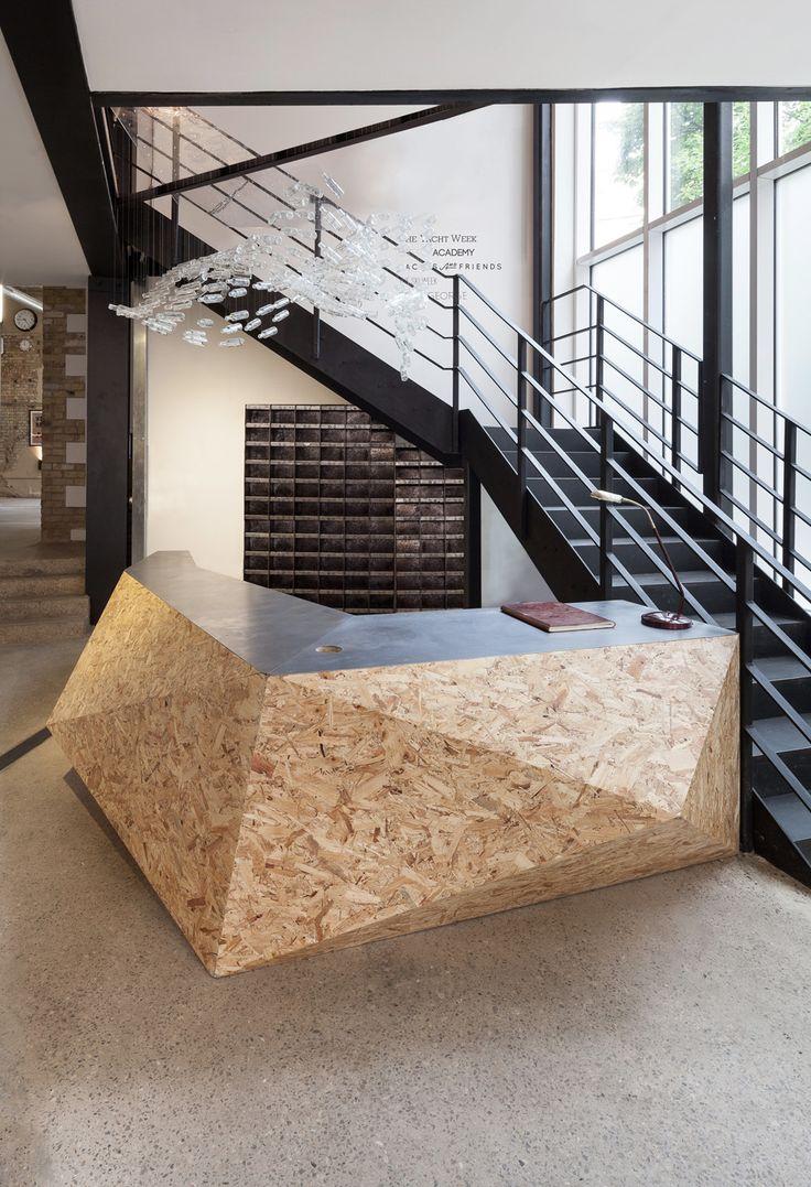 industrial style office reception desk design
