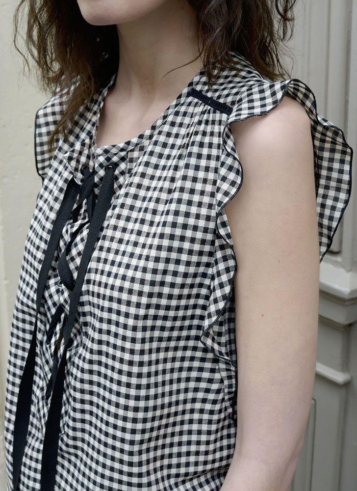 Blouse Caroline vichy - MAISON BRUNET - http://maisonbrunet.com/product/blouse-caroline-vichy?ref=category-femme #vichy #gingham #ss16 #blouse #top #details #femme #women #madewithlove #conçuaparisavecamour