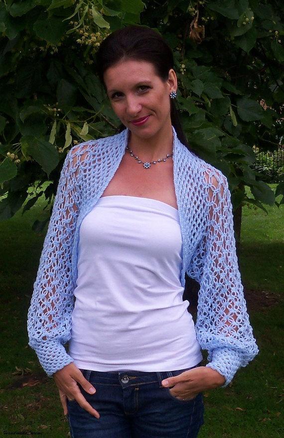 Wedding bolero shrug/ Crochet lace light blue bolero shrug