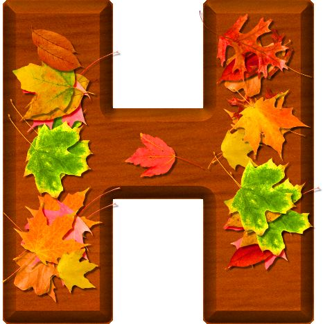 Presentation Alphabets: Cherry Wood Leaves Letter H