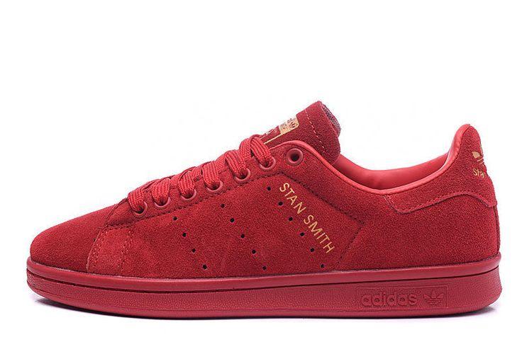 Adidas Stan Smith Red Suede Hot  Fashion Skateboarding Women  Shoes  #adidas #RunningCrossTraining