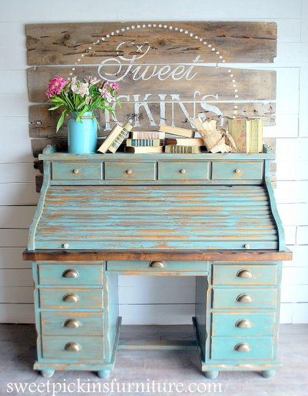 Sweet Pickins Furniture - Sea Green Milk Paint.  Making an old piece of furniture sing!