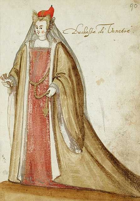 16th century Venetian Loose Gown with sleeves ala dogaressa The cap could mean this is a dogaressa