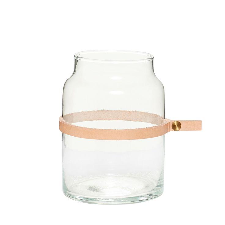 Γυάλινο βάζο με Δερμάτινη Κορδέλα (Small) - Hübsch