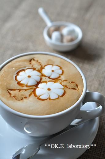Flower coffee art -beautiful!