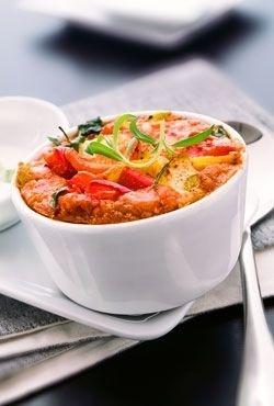 Suflet z papryki z sosem z młodej cebulki