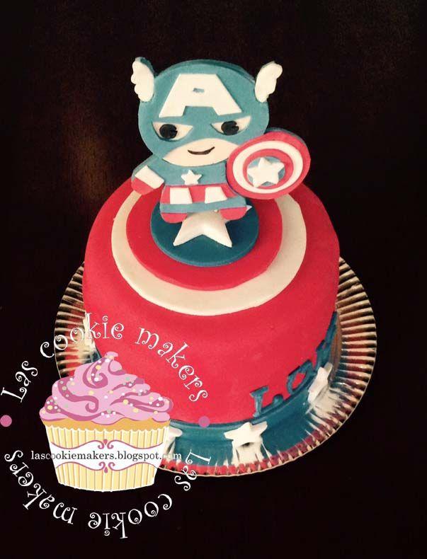 AMERICAN CAPTAIN CAKE TORTA CAPITAN AMERICA lascookiemakers@gmail.com