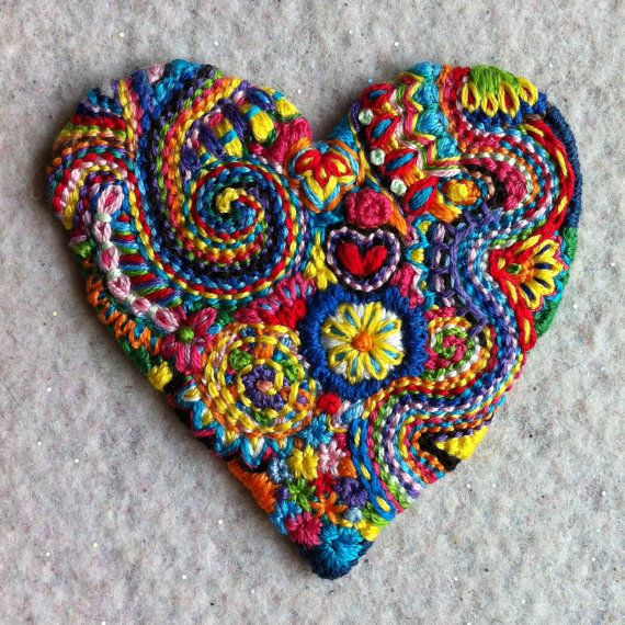 Large 2 1/2 inch Freeform  embroidery Heart appliqué CAN be made into a pin
