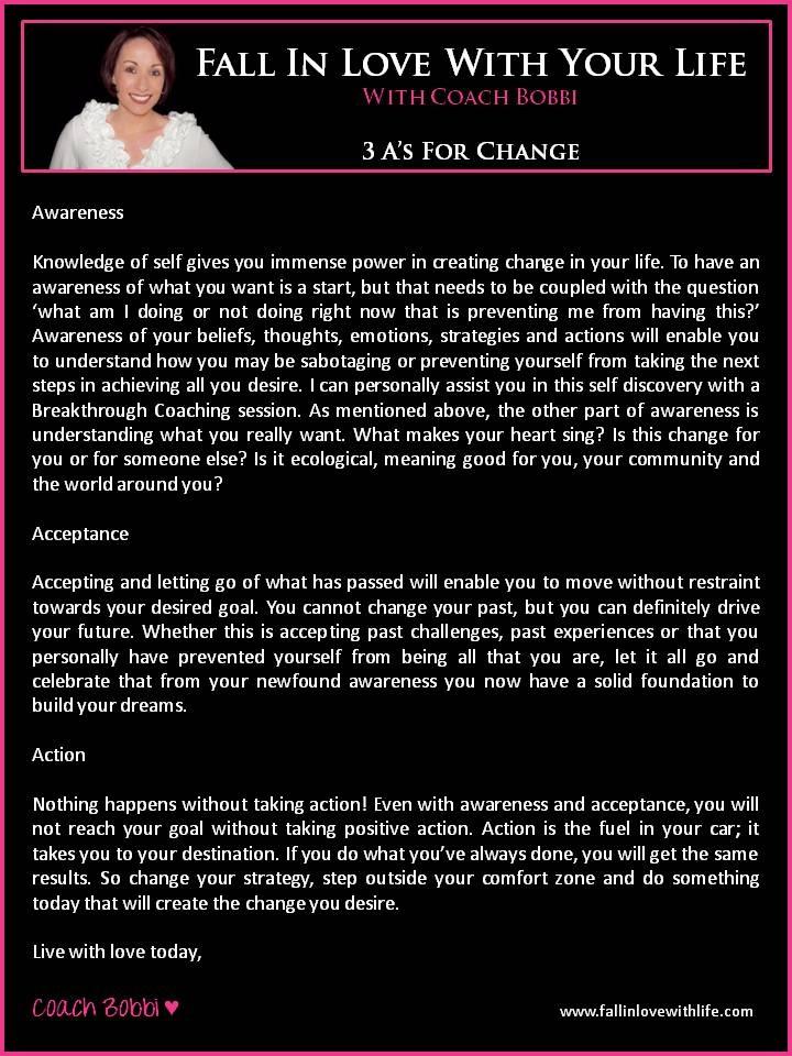 3 A's For Change  © Ask Coach Bobbi