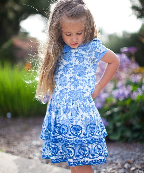 Take a look at the Trish Scully Child Blue & White Floral Tiered Dress - Infant, Toddler & Girls on #zulily today!