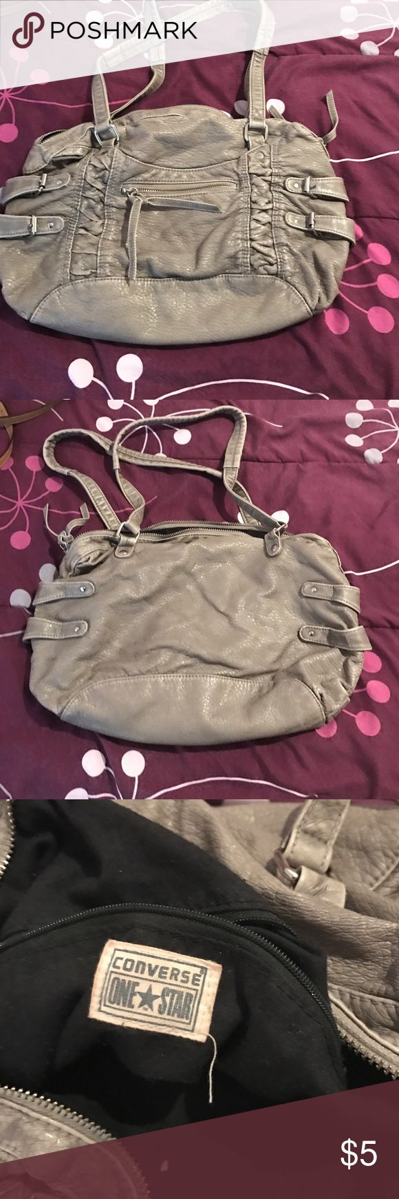 Converse One Star purse Great gently used small-medium sized bag by Converse One Star.  In good used condition. Color is hard to describe but I'd say it's like a pewter beige-y gray Converse Bags Shoulder Bags