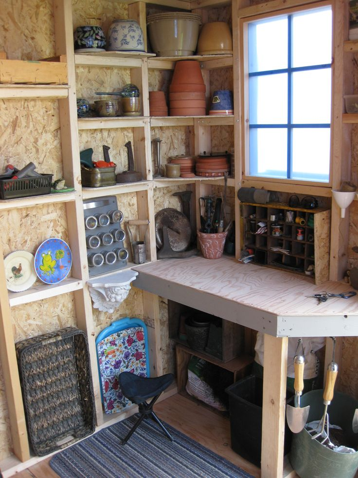 Inside my shed potting shed interiors pinterest for Home interior shelf designs
