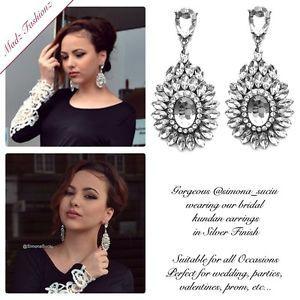 Crystal Earrings Bridal Wedding Party Indian Bollywood Jewelry Silver Earrings | eBay