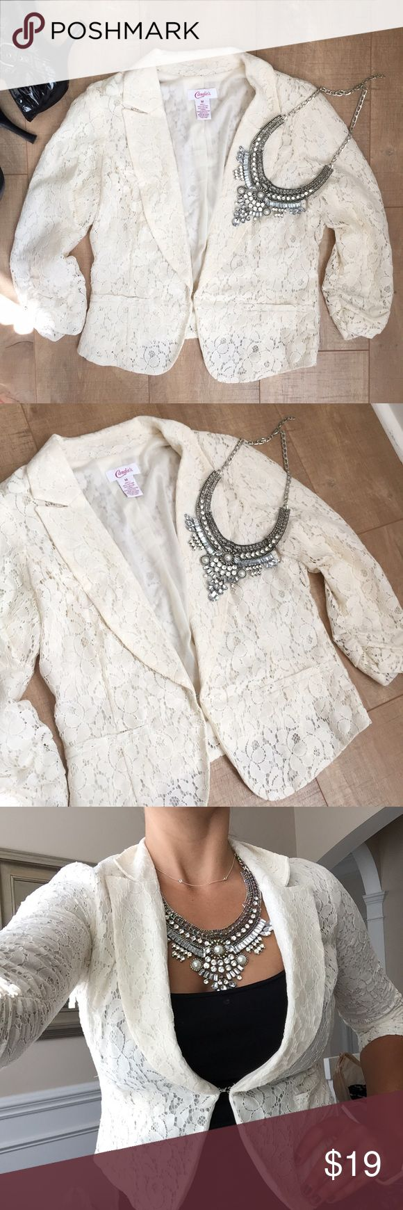 Lace Blazer Off-white cream lace blazer. Hook closure at waist for a tailored, slimming effect. Ruched sleeves, super chic & classic! Great condition, worn once. Candie's Jackets & Coats Blazers