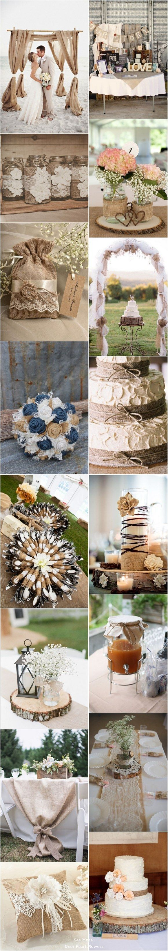 55 Chic-Rustic Burlap and Lace Wedding Ideas  / http://www.deerpearlflowers.com/50-chic-rustic-burlap-and-lace-wedding-ideas/