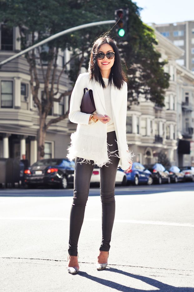 9to5Chic: WeekendFashion Outfit, Balenciaga, White Feathers, Street Style, Jackets, Vintage Necklaces, Leather Pants, Anne Taylors, The Roller Coasters