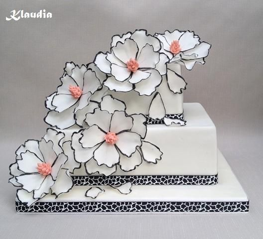 bielo-čierna , svadobné torty | Tortyodmamy.sk