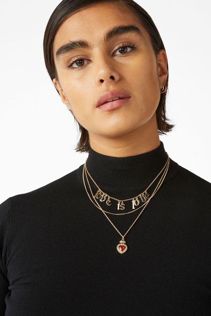 Statement necklace - Goldish metallic - Jewellery - Monki SE