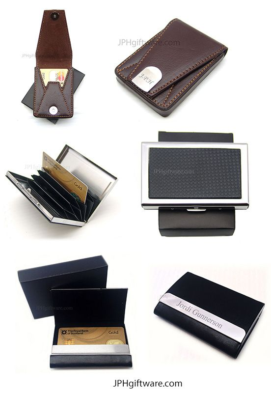 Todays the day of the Credit or Business Card Holder! = 1st up Traditional Tan leatherette Flip open card holder with Magnetic closure. 2nd - A Stylish Modern Card Holder with a Carbon Fibre style pattern and dividers inside. 3rd a contemporary modern leatherette card holder which can be engraved in several places.