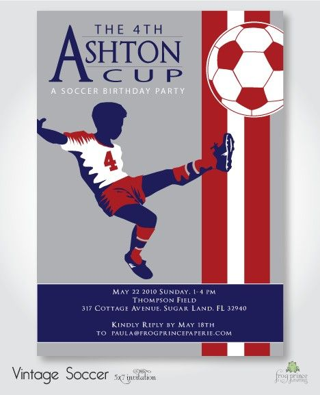 soccer party invite by Frog Prince Paperie: Birthday Party Invitations, Birthday Parties, Soccer Birthday Ideas, Birthday Logan, Soccer Birthday Party Ideas, Birthday Party Soccer, Birthday Tailgate Parties, Soccer Birthday Invitation, Birthday Soccer