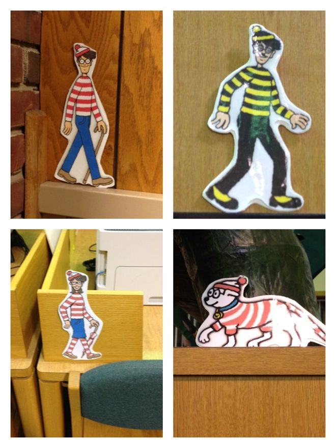 Where's Waldo at the Library? Hide Waldo characters around your library. Use a contest entry form for students to fill out. | http://jipmagip.blogspot.com