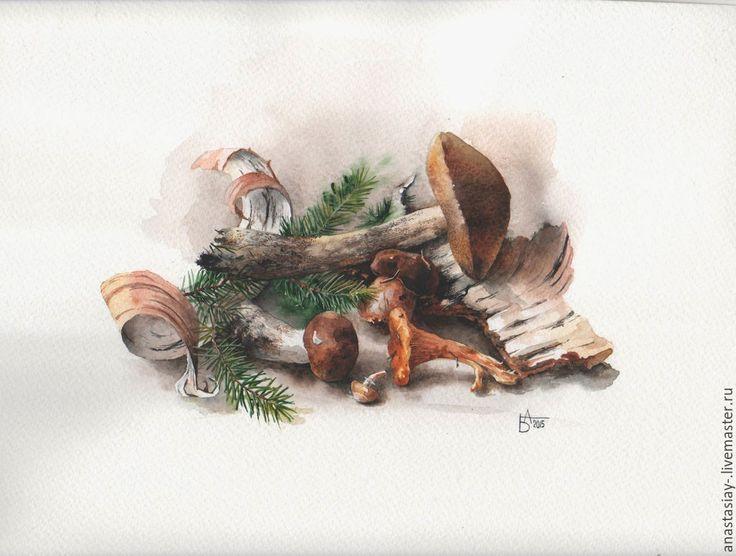 Купить Дары леса - коричневый, грибы, натюрморт, натюрморт акварелью, лесной, акварель, акварельная бумага