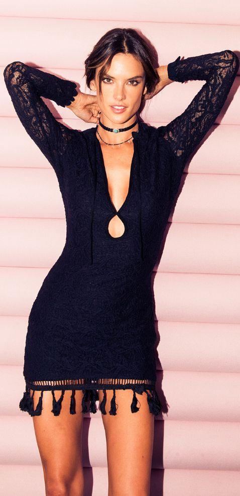 Who made  Alessandra Ambrosio's black fringe dress?