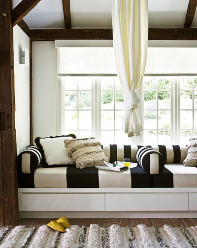 Black and White stripes incorporated into a rustic setting looks so good!  Like the floating curtain too, softens the bold stripes~
