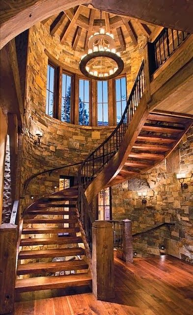 Best Rustic Semi Spiral Staircase Stairway Wood Cabin Stone 640 x 480