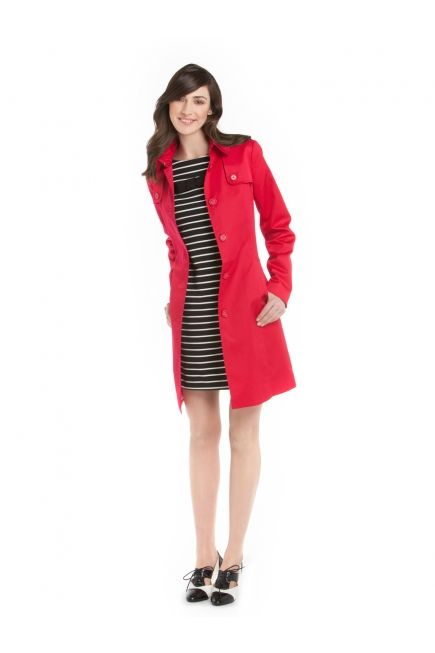 Trench avec Doublure Imprimée et Ceinture avec Robe Ponte Rayée avec Boucle - Trench Coat with Printed Linning and Belt with Striped Ponte Dress with Bow