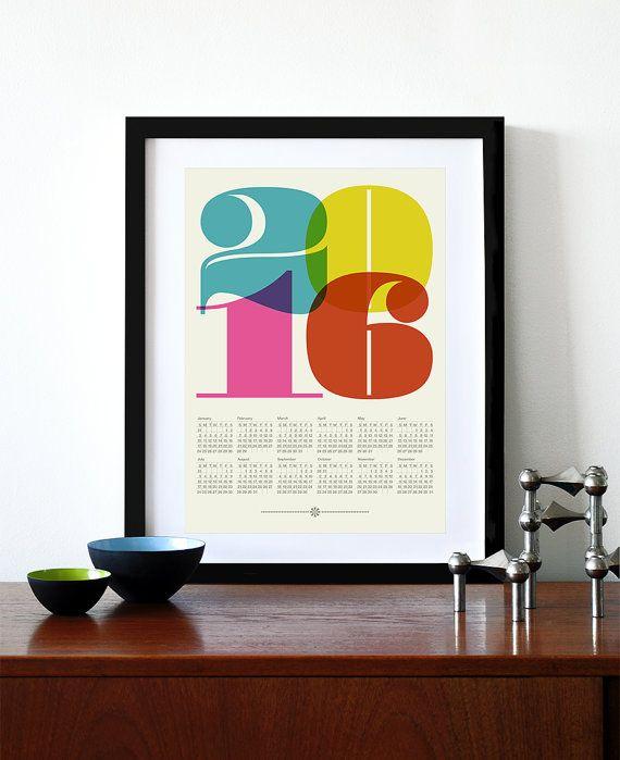 Affiche de calendrier 2016 art cuisine r tro au milieu for Affiche cuisine retro