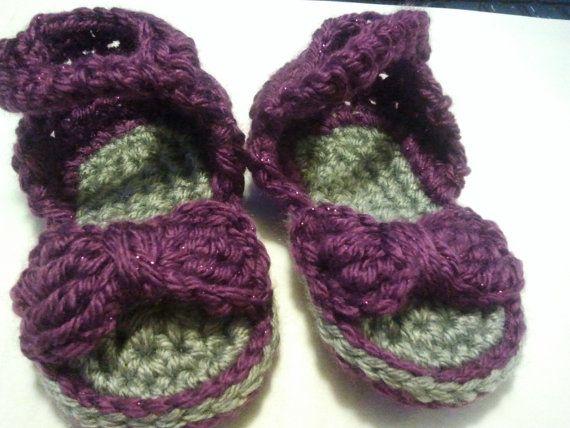 Baby Girl Bow Sandals - Purple~*~ originally pinned by https://www.facebook.com/HookedOnEwe