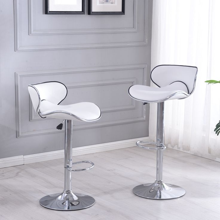 Belleze Retro Adjustable White Faux Leather Swivel Bar Stools Chairs Footrest, Sets of 2