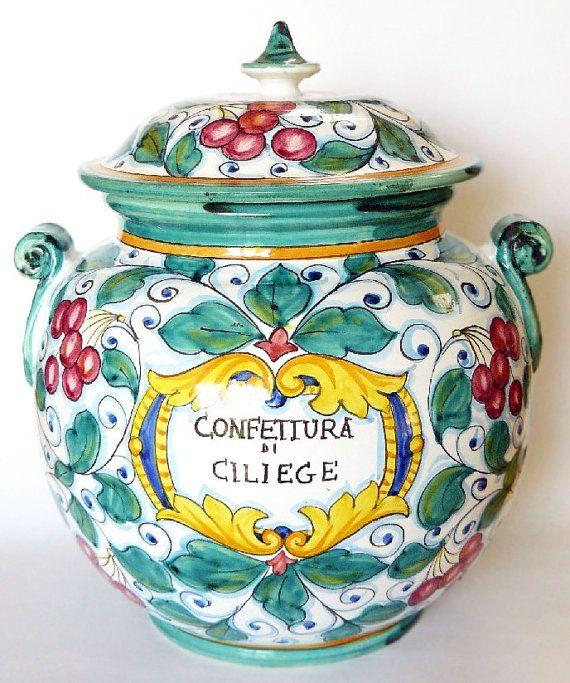 Deruta Italian Majolica Frutta Veneta Biscotti Jar Made by belmodo