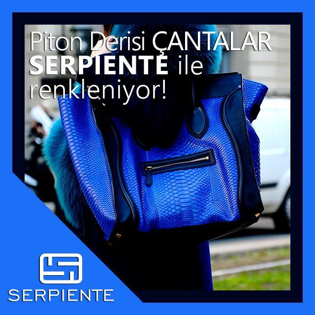Piton derisi çantalar, Serpiente ile renkleniyor! www.serpienteonline.com #piton #deri #çanta #bayan #python #leather #bag #moda #renk #mavi