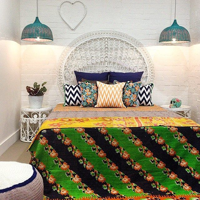 Simple White Rattan Furniture brought to life with colourful bedding and accessories!